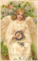Glückwunsch Ostern, Engel mit Blumenkranz, Kitsch