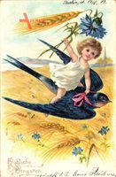 Glückwunsch Pfingsten, Kind fliegt auf einer Schwalbe, Weizenfeld