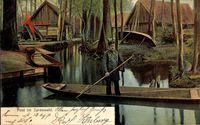 Post im Spreewald, Postbote, Gondel, Bauernhäuser