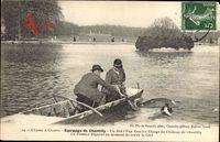 Chasse à Courre, Hetzjagd, Equipage de Chantilly, Hirsch im Wasser, Boot