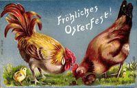 Glückwunsch Ostern, Hühner, Küken, Hahn, Henne
