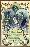 Jugendstil Glückwunsch Ostern, Hahn, Eier, Kinder, Weidenkätzchen