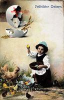 Glückwunsch Ostern, Mädchen sammelt Ostereier, Hahn, Küken