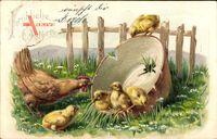 Glückwunsch Ostern, Henne, Küken, Bauernhof, Topfschale