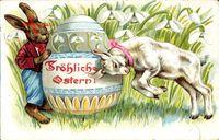 Glückwunsch Ostern, Osterhase, Osterei, Zicklein