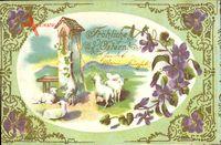Glückwunsch Ostern, Lämmer, Kirchturm, Kitsch