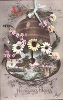 Passepartout Glückwunsch Ostern, Glocke, Kitsch, Blumen, Cloche