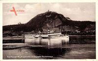 Bad Honnef im Rhein Sieg Kreis, Drachenfels mit Dampfer Barbarossa