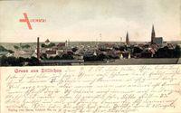 Sulechów Züllichau Ostbrandenburg, Blick auf den Ort, Kirche, Schornsteine