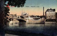 Praha Prag, Hlavkuv most, Flusspartie, Brücke, Kirche, Schornstein