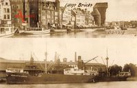 Gdańsk Danzig, Lange Brücke, Krantor, Dampfer Charlotte Cords