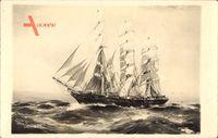 Spurling, Segelschiff Cimba, Dreimastbark, Sturm auf offenem Meer