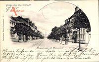 Darmstadt, Blick in die Rheinstraße mit Monument