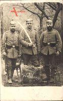 Weihnacht im Weltkrieg 1914, Drei Soldaten, Uniformen,Säbel,Pickelhauben