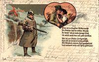 Soldat steht Wache im Winter, Gedanken an die Geliebte, Kuss