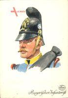 Bayerischer Infanterist, Soldat 1870, Portrait, Helm
