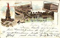 Dortmund, Kriegerdenkmal,Bahnhof mit Post, Gymnasium