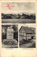 Voremberg Emmerthal, Kriegerdenkmal und Geschäftshaus Frau Pape