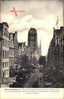 Gdańsk Danzig, Blick in die Jopengasse, Turm der Marienkirche