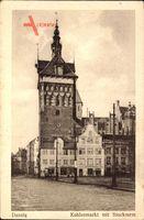 Gdańsk Danzig, Blick auf den Kohlenmarkt mit Stockturm, Fassaden