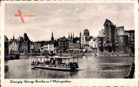 Gdańsk Danzig, Lange Brücke mit 4 Wahrzeichen, Dampfschiff, Krantor
