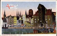 Gdańsk Danzig, Blick auf das Krantor und Fähre, Flusspartie, Häuser