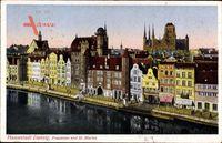Gdańsk Danzig, Blick auf das Frauentor und Kirche St. Marien, Flusspartie