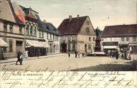 Burg bei Magdeburg, Blick auf den Markt mit Kaiser Wilhelm Friedrich Denkmal