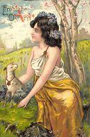 Fröhliche Ostern, Frau mit Blumen im Haar, Lamm, Wiese