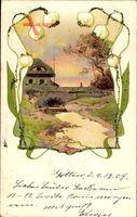 Glitzer Frühling, Allegorie, Fluss, Brücke, Märzenbecher, Haus