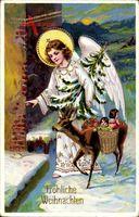 Glückwunsch Weihnachten, Engel mit Tannenbaum, Reh, Schnee
