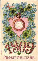 Glückwunsch Neujahr, jahreszahl 1909, Taschenuhr, Blumen