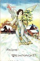 Glückwunsch Weihnachten, Engel mit Weihnachtsbaum, Schnee, Häuser