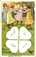 Glückwunsch Pfingsten, Kleeblatt, Amsel, Kinder beim Kreisspiel, Ball
