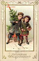 Passepartout Glückwunsch Weihnachten, Junge und Mädchen mit Tanne