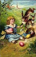 Glückwunsch Ostern, Ostereier, osterhasen, kleines Mädchen