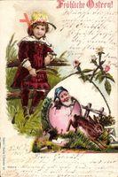 Glitzer Glückwunsch Ostern, Zwerg schlüpft aus Ei, Mädchen, Hase