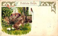 Glückwunsch Ostern, Zwerge, Hase legt Eier, Vogel, Baumstamm