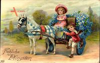 Glückwunsch Pfingsten, Mit Blumen geschmückte Kutsche, Kinder