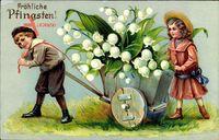 Glückwunsch Pfingsten, Kinder mit einem Karren voll Märzenbecher