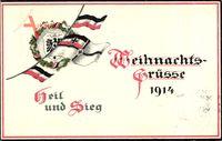 Weihnachtsgrüße 1914, Fahne, Eisernes Kreuz, Sieg