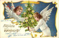 Glückwunsch Weihnachten, Zwei Engel schmücken den Weihnachtsbaum