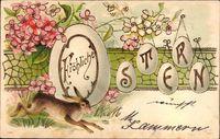 Glückwunsch Ostern, Osterhase, Ostereier, Blüten