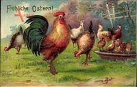 Glückwunsch Ostern, Hühner, Hahn, Küken