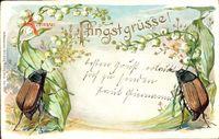 Glückwunsch Pfingsten, Zwei Maikäfer, Märzenbecher, Blüten