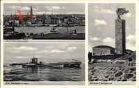 Kiel, Stadtpanorama, Unterseeboot im Hafen, U Boot Ehrenmal