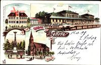 Lehrte in Niedersachsen, Bahnhof, Schule, Kirche, Krieger Denkmal