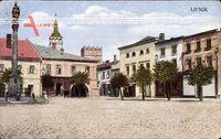 Lipník nad Bečvou Region Olmütz, Blick auf einen Platz, Denkmal, Tor, Häuser