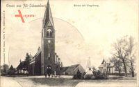 Alt Schaumburg Ostbrandenburg, Straßenpartie mit Blick auf Kirche