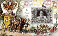 Briefmarken Prinzregent Luitpold von Bayern, Postkutsche, Ludwig III.
